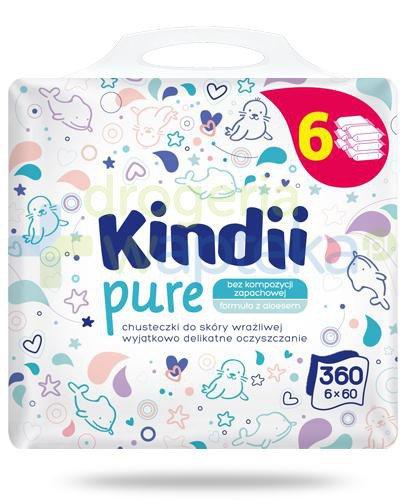 Kindii Pure bezzapachowe chusteczki z aloesem do skóry wrażliwej 6x 60 sztuk  whited-out