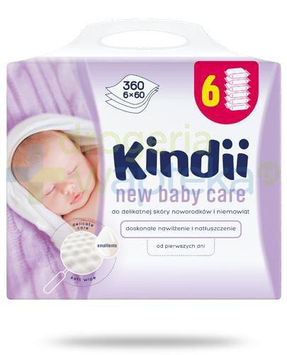 Kindii New Baby Care chusteczki nawilżane do delikatnej skóry noworodków i niemowląt 6...