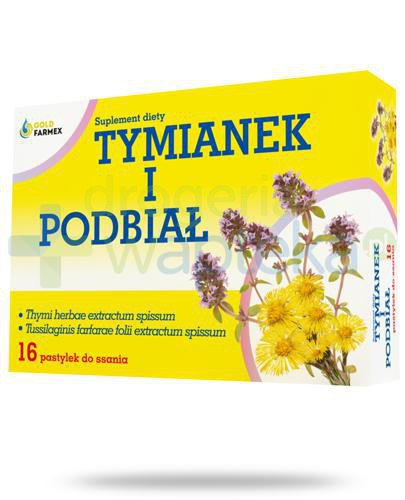 GoldFarmex Tymianek i podbiał 16 pastylek do ssania  whited-out