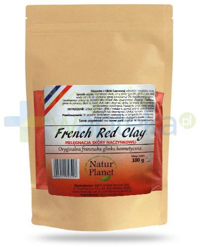 Natur Planet French Red Clay francuska czerwona glinka kosmetyczna do skóry naczynkowej, ...