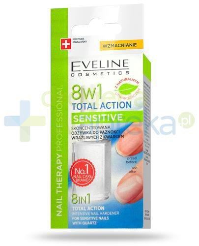 Eveline Nail Therapy Total Action Sensitive 8w1 skoncentrowana odżywka z kwarcem do pazno...