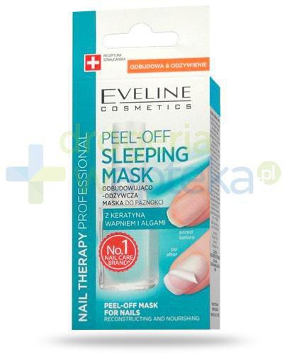 Eveline Nail Therapy Peel-off Sleeping mask odbudowująco-odżywcza maska z keratyną i wa...