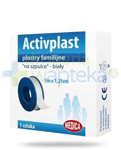 Activplast plastry familijne na szpulce, plaster do cięcia 5m x 1,25cm  whited-out