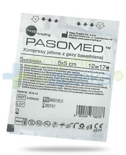 PasoMed kompresy jałowe z gazy bawełnianej 17 nitek 12 warstw 5x 5cm 5 sztuk