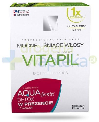 Vitapil z biotyną Mocne, lśniące włosy 60 tabletek + AQUAfemin Detox 15 kapsułek [ZESTAW]
