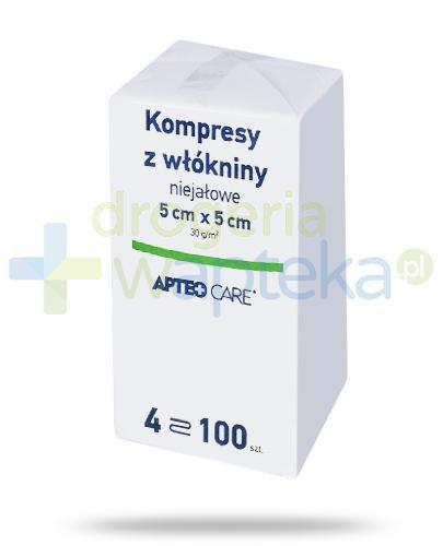 Apteo Care niejałowe kompresy z włókniny 5cm x 5cm 100 sztuk  whited-out
