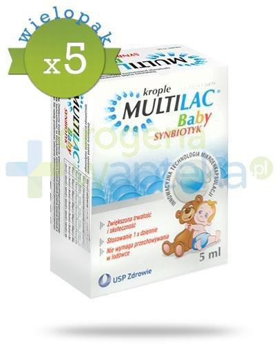 Multilac Baby Synbiotyk probiotyk + prebiotyk krople 5x 5 ml [WIELOPAK]