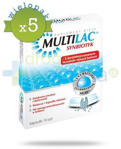 Multilac Synbiotyk probiotyk + prebiotyk 5x 10 kapsułek [WIELOPAK]