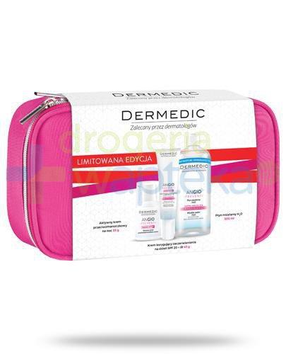 Dermedic Angio Preventi Nano Vit E krem korygujący zaczerwienienie na dzień SPF20 + IR 40 g + aktywny krem przeciwzmarszczkowy na noc 55 g + płyn micelarny 500 ml + różowa kosmetyczka [ZESTAW]