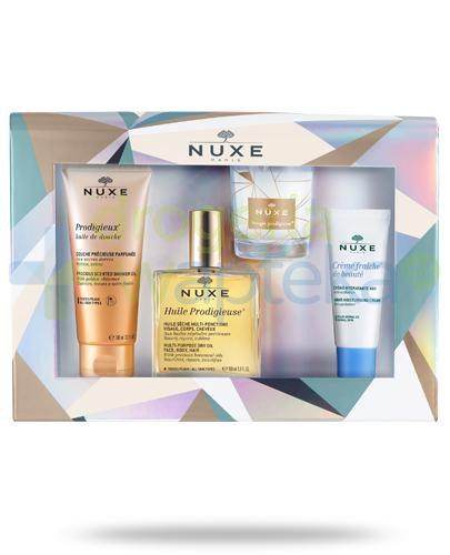 Nuxe Huile Noel wielofunkcyjny olejek 100 ml + olejek pod prysznic 100 ml + krem nawilżający 30 ml + świeczka 70 g [ZESTAW]