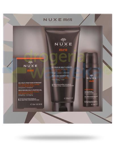Nuxe Men wielofunkcyjny żel nawilżający 50 ml + wielofunkcyjny żel pod prysznic 200 ml + żel do golenia 35 ml [ZESTAW]