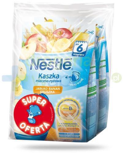 Kaszka mleczno-ryżowa Nestlé jabłko banan gruszka po 6 miesiącu 2x 230 g [DWUPAK]  whited-out