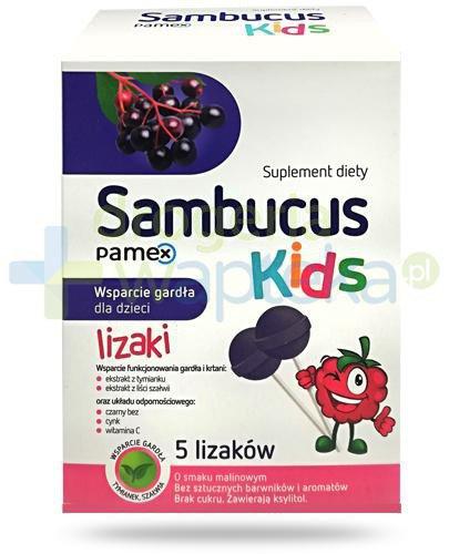 Sambucus Kids lizaki o smaku malinowym na gardło dla dzieci 5 sztuk
