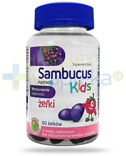 Sambucus Kids żelki o smaku malinowym na wzmocnienie odporności dla dzieci 60 sztuk