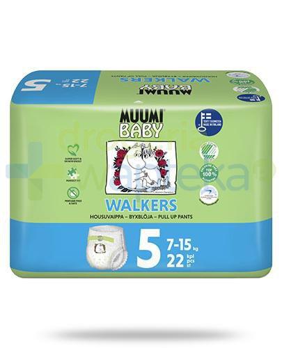 Muumi Baby 5 Walkers 7-15kg jednorazowe pieluchomajtki dla dzieci 22 sztuki  whited-out