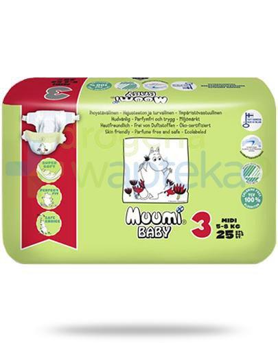 Muumi Baby 3 Midi 5-8kg jednorazowe pieluszki dla dzieci 25 sztuk