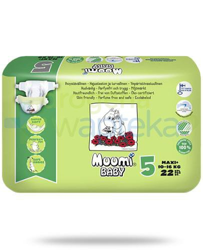 Muumi Baby 5 Maxi+ 10-16kg jednorazowe pieluszki dla dzieci 22 sztuki