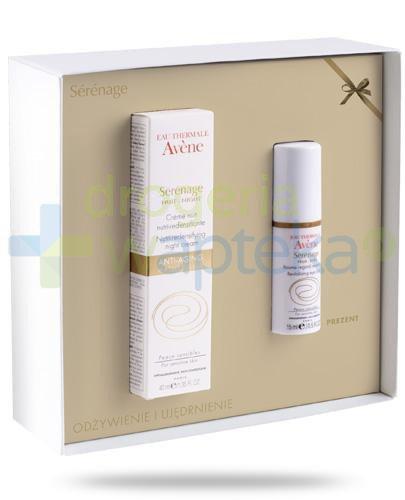 Avene Serenage krem odżywczy przywracający gęstość skóry na noc 40 ml + rewitalizujący balsam pod oczy 15 ml [ZESTAW]
