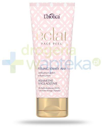 Lbiotica Eclat Face Peel, Aksamitne wygładzenie, peeling kwasy AHA z delikatnym pyłem wu...