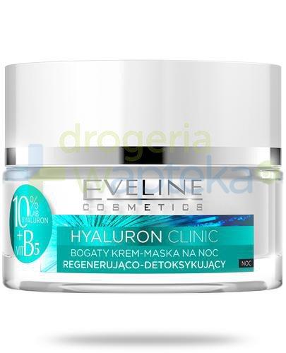 Eveline Hyaluron Clinic bogaty krem-maska regenerująco-detoksykujący na noc 50 ml + Evel...