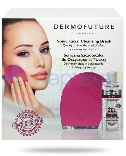 DermoFuture szczoteczka soniczna do oczyszczania twarzy, kolor różowy 1 sztuka + żel mi...