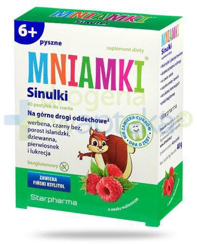 Mniamki Sinulki pastylki o smaku malinowym dla dzieci 6+ 40 sztuk