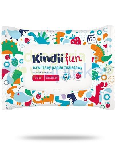Kindii Fun nawilżany papier toaletowy z aloesem i pantenolem do skóry wrażliwej 60 sztu...