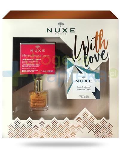 Nuxe With Love, Merveillance Expert krem liftingujący do skóry suchej 50 ml + olejek 10 ml + świeczka 70 g [ZESTAW]