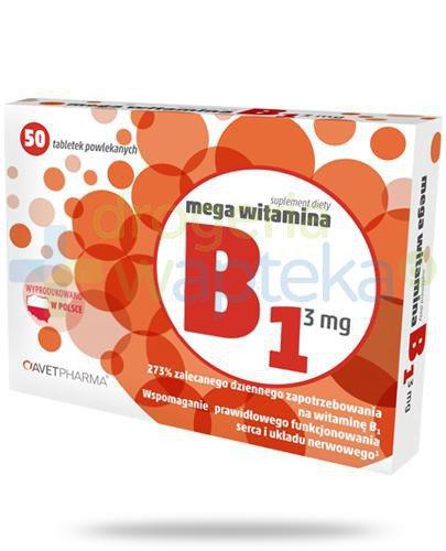 AvetPharma Mega witamina B1 3mg 50 tabletek powlekanych