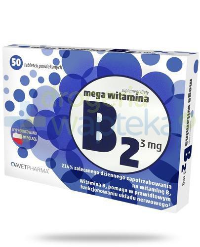 AvetPharma Mega witamina B2 3mg 50 tabletek powlekanych [Data ważności 31-05-2019]  whited-out