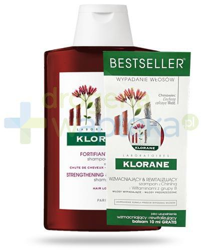 Klorane szampon na bazie chininy i witamin B 400 ml + balsam 10 ml [ZESTAW]