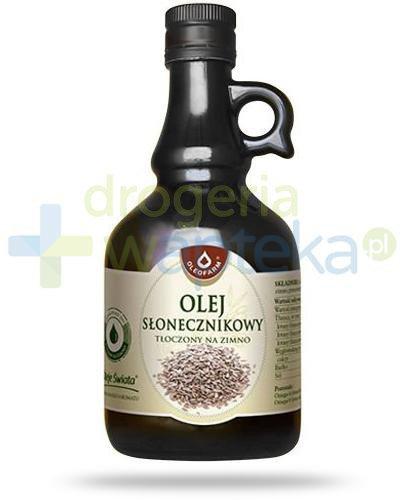 Oleofarm olej słonecznikowy tłoczony na zimno, płyn 500 ml