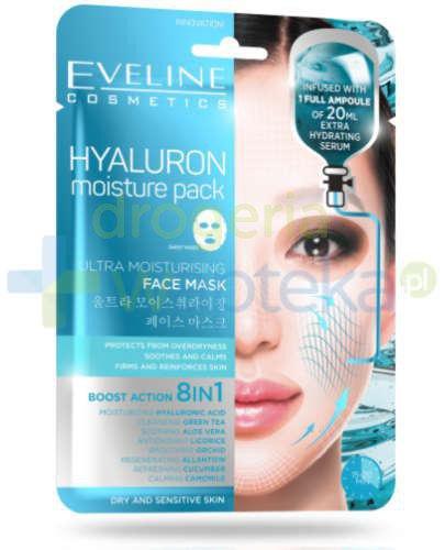 Eveline Hyaluron Moisture Pack ultranawilżająca maska na tkaninie z kwasem hialuronowy...
