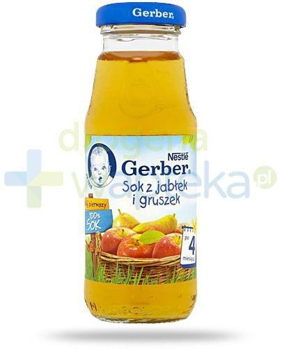 Nestlé Gerber 100% sok z jabłek i gruszek po 4 miesiącu 175 ml