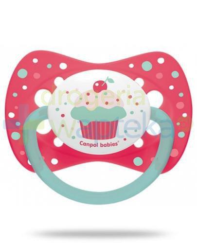 Canpol Babies smoczek silikonowy symetryczny cupcake różowy 0-6mc 1 sztuka [23/282]