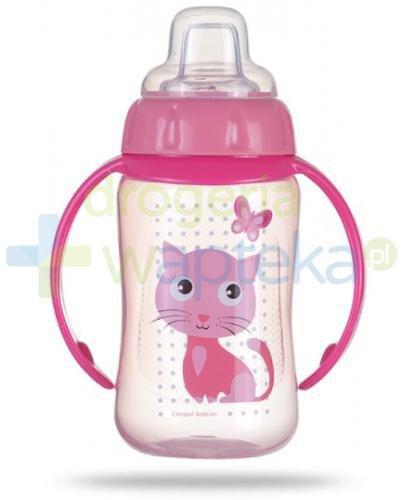 Canpol Babies Cute Animals kubek treningowy z silikonowym ustnikiem i uchwytami różowy k...