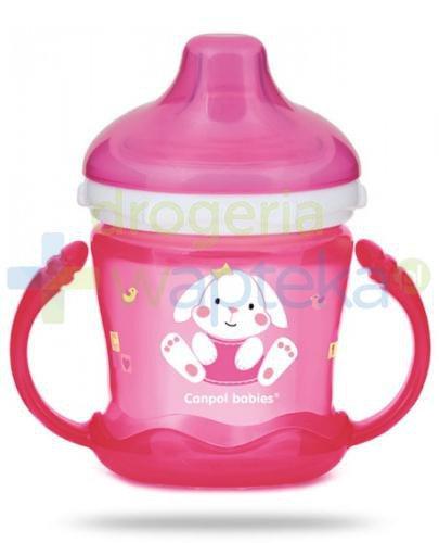 Canpol Babies Sweet fun kubek niekapek dla dzieci 9m+ różowy królik 180 ml [57/300]