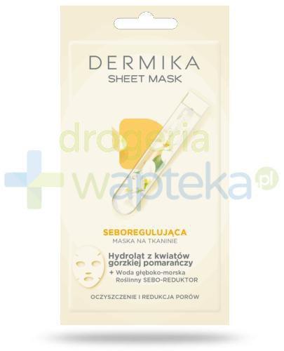 Dermika Sheet Mask seboregulująca maska na tkaninie hydrolat z kwiatów gorzkiej pomarańczy 17 g