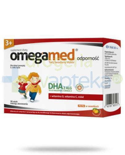 Omegamed Odporność DHA z ALG dla dzieci 3+ płyn w saszetkach smak pomarańczowy 30 sztu...