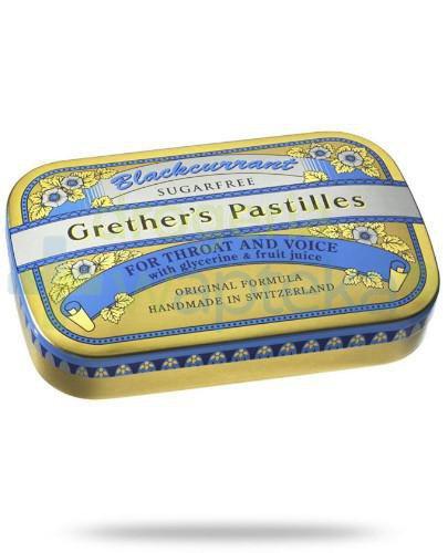 Blackcurrant Grethers Pastilles pastylki bez cukru z czarną porzeczką na gardło 60 g