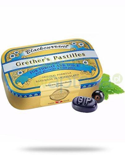 Blackcurrant Grethers Pastilles pastylki z czarną porzeczką na gardło 60 g