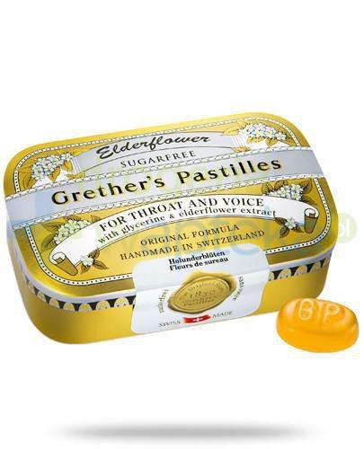 Elderflowers Grethers Pastilles pastylki bez cukru z czarnym bzem na gardło 60 g