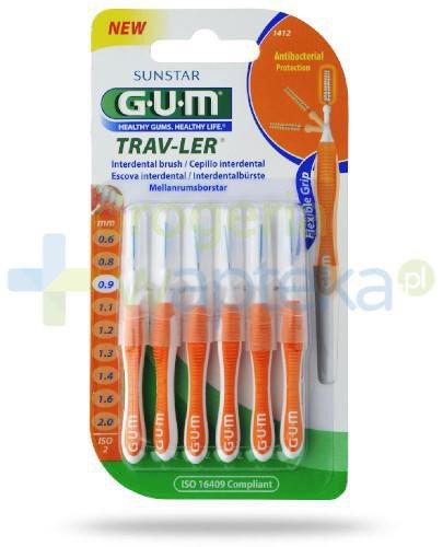 GUM Trav-Ler szczoteczki międzyzębowe 0,9mm 6 sztuk