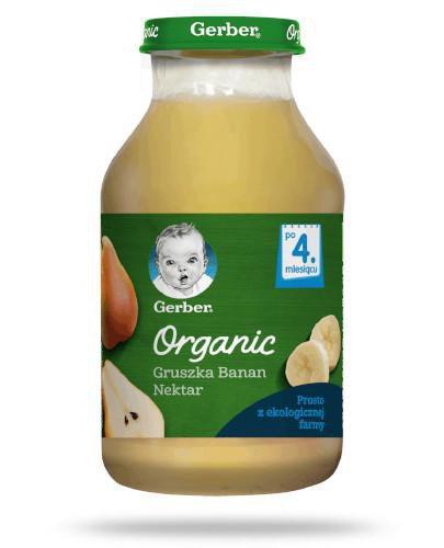 Nestlé Gerber Organic gruszka, banan nektar dla dzieci 4m+ 200 ml