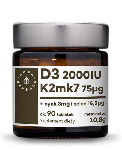 Aura Herbals Witamina D3 (2000IU) + K2mk7 + Cynk + Selen 90tabletek (10,8g)