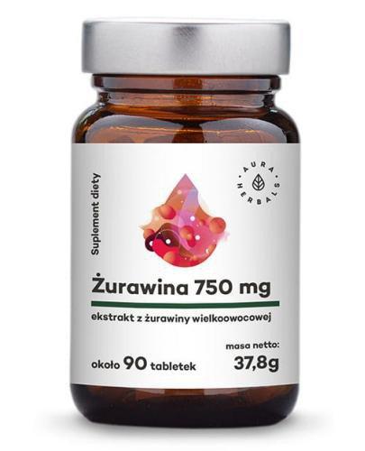 Aura Herbals Żurawina ekstrakt 750mg wielkoowocowa 90 tabletek (38g)