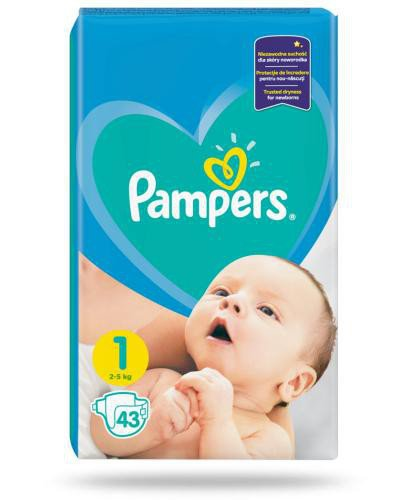 Pampers 1 pieluchy 2-5 kg 43 sztuki  whited-out