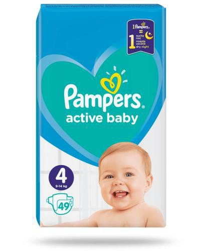 Pampers Active Baby 4 pieluchy 9-14 kg 49 sztuk  whited-out