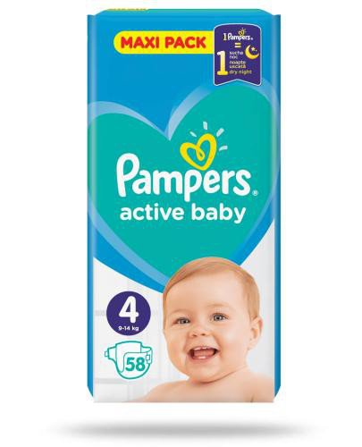 Pampers Active Baby 4 pieluchy 9-14 kg 56 sztuk  whited-out