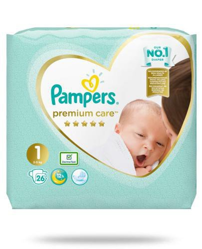 Pampers Premium Care 1 pieluchy 2-5 kg 26 sztuk  whited-out